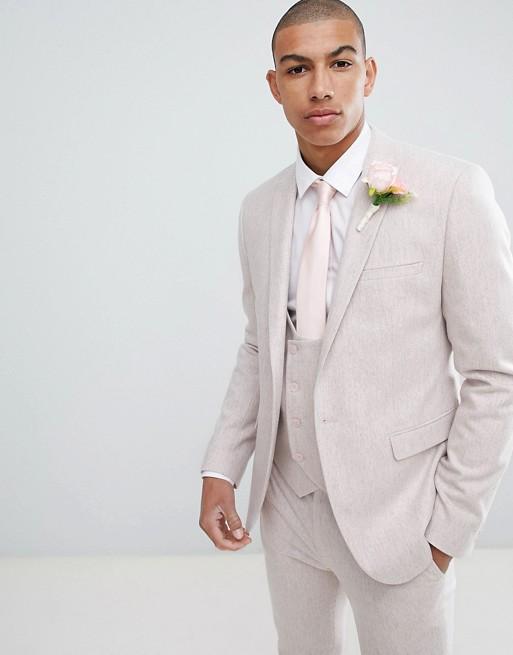 Chaqueta de traje ajustada de mezcla de lana en rosa de ASOS DESIGN Wedding