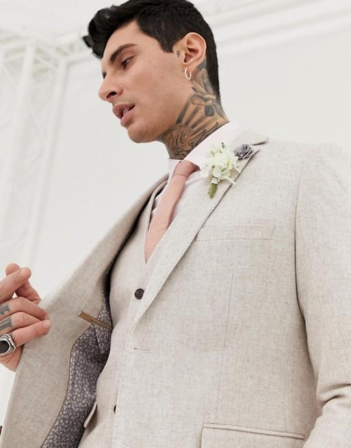 Imagen 1 de Chaqueta de traje de boda de corte slim en mezcla de lana Summer Tweed de Harry Brown