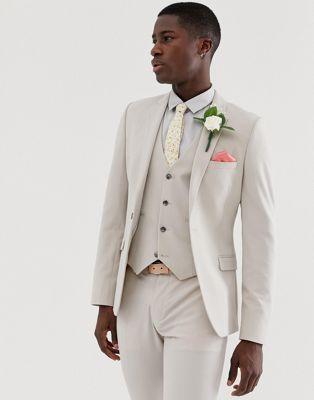 Imagen 1 de Chaqueta de traje súper ajustada en gris paloma de ASOS DESIGN Wedding