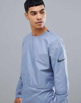 Chaqueta gris con cuello redondo y efecto arrugado Run Division 928497-445 de Nike Running