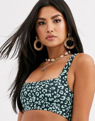 Charlie Holiday Crop Bikini Top In Green Leopard by Charlie Holiday