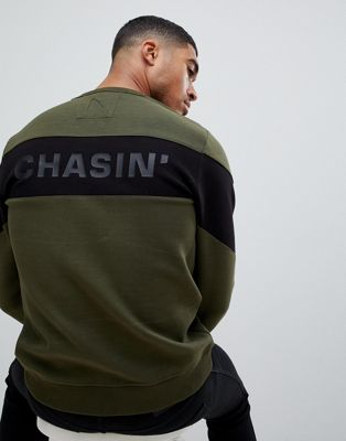 Image 1 of Chasin' Quincy sweatshirt with arm panels khaki