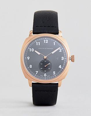 Часы 38 мм с черным кожаным ремешком Larsson & Jennings Meridian