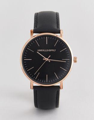 Часы с розово-золотистым корпусом и черным кожаным ремешком ASOS DESIGN