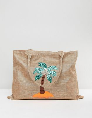 Chateau Palm Tree Embroidered Straw Bag with Tassles