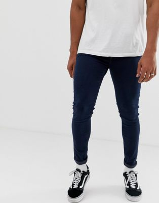 "Cheap Monday – Him – Blå ""spray on"" super skinny jeans"