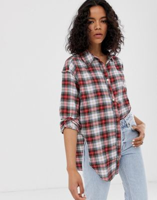 Image 1 of Cheap Monday organic cotton shirt with knot front in check