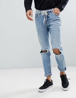 Cheap Monday TALL Sonic Slim Jeans with Blown Out Knee