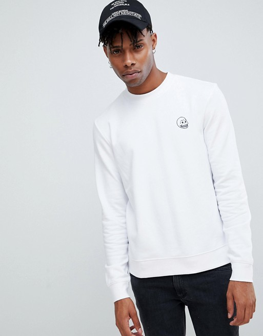 Cheap Monday Tiny Skull Logo Sweatshirt White