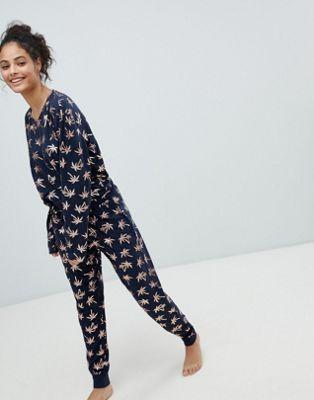Chelsea Peers Foil Print Palm Tree Long Pyjama Set