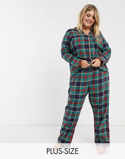 Chelsea Peers Plus Size check printed pyjama with embroidered slogan pocket