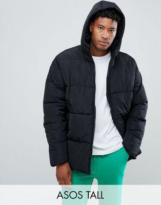 Черная дутая куртка с капюшоном ASOS DESIGN Tall