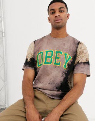 Черная футболка с принтом тай-дай и логотипом Obey Academic