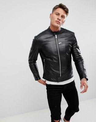 Черная кожаная байкерская куртка Replay