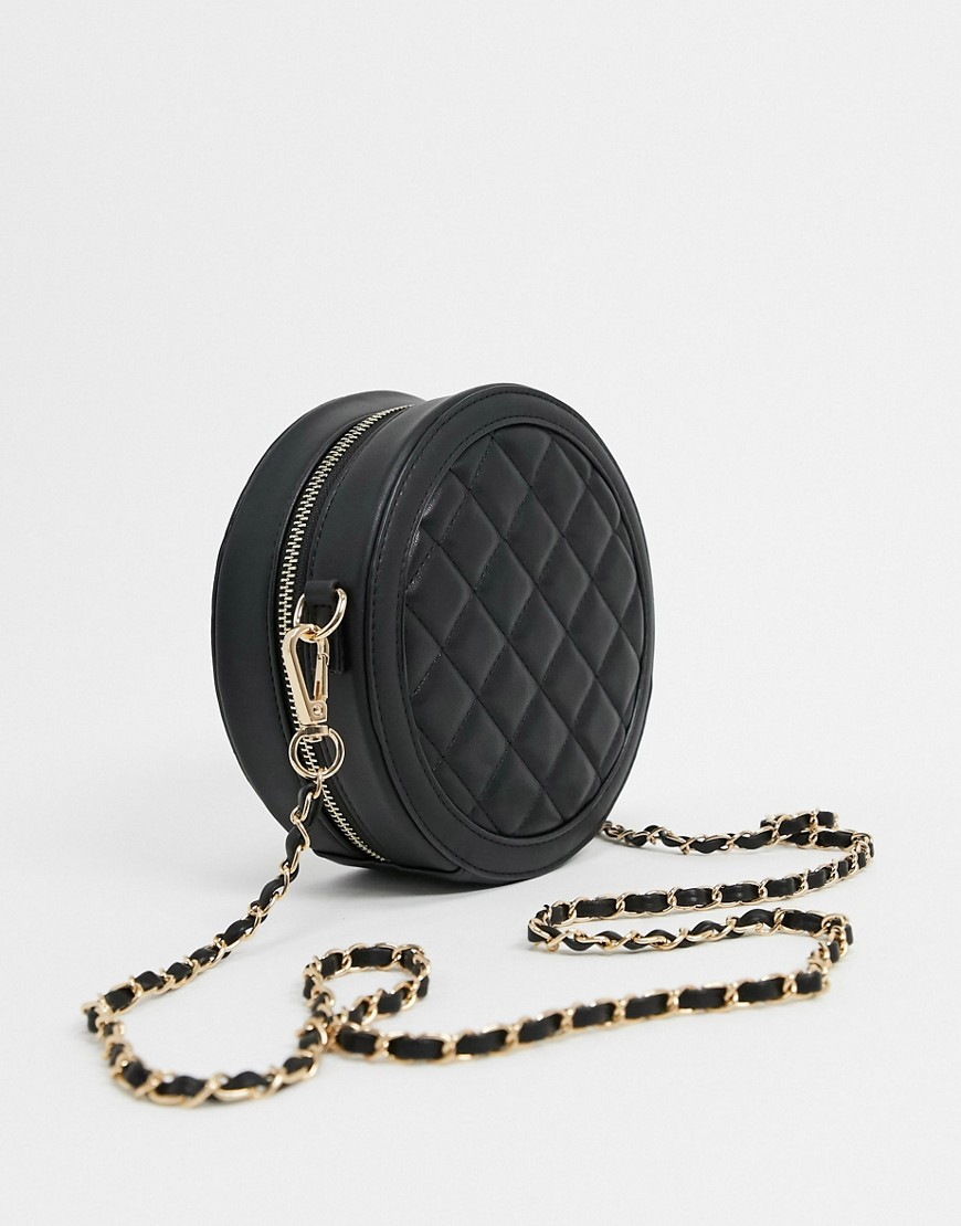 Черная круглая сумка через плечо с ремешком-цепочкой Truffle-Черный