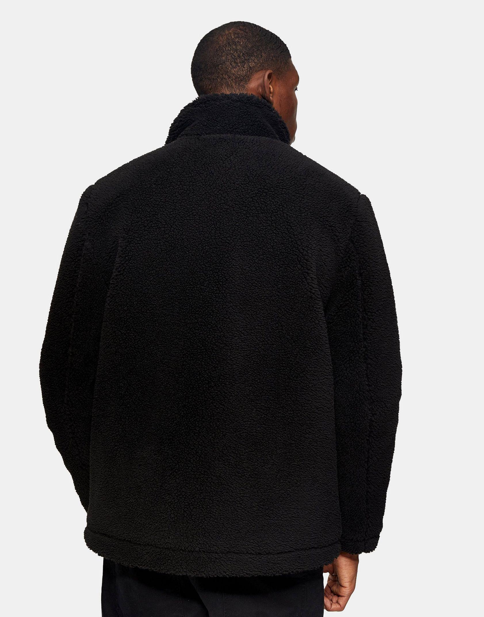 Topman borg jacket in black -  Price Checker