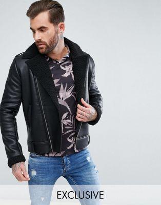 Черная куртка из полиуретана с искусственной овечьей шерстью Liquor N Poker