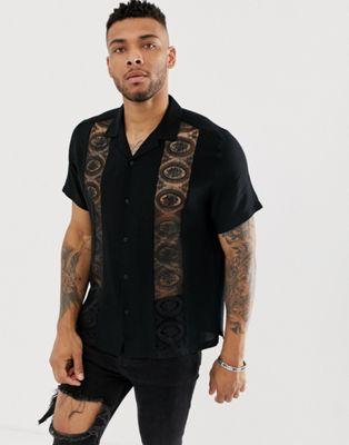 Изображение 1 из Черная oversize-рубашка с отложным воротником и кружевными вставками ASOS DESIGN
