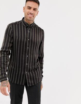 Черная рубашка классического кроя в золотистую полоску ASOS DESIGN
