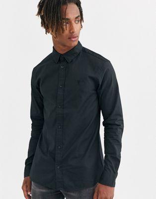 Черная рубашка с логотипом и длинными рукавами AllSaints