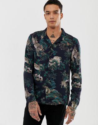 Черная рубашка с отложным воротником и тигровым принтом AllSaints