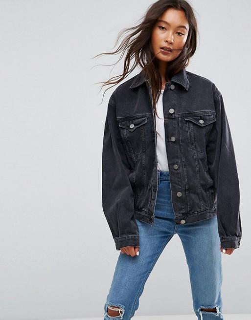 Черная выбеленная джинсовая куртка ASOS DESIGN
