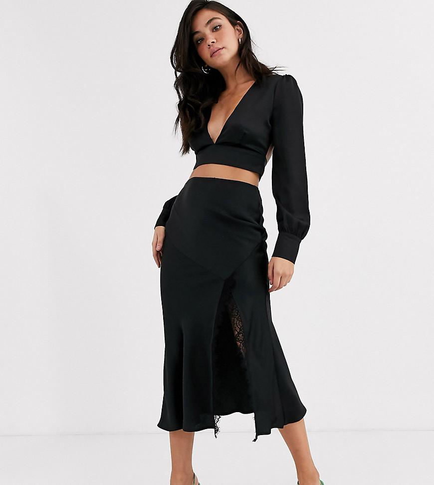 Черная юбка миди с кружевной вставкой Outrageous Fortune-Черный