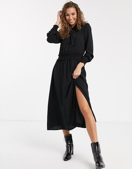 Черное платье миди с бантом Oasis