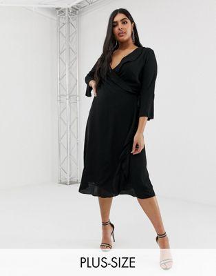 Черное платье с запахом и расклешенными рукавами Outrageous Fortune Plus