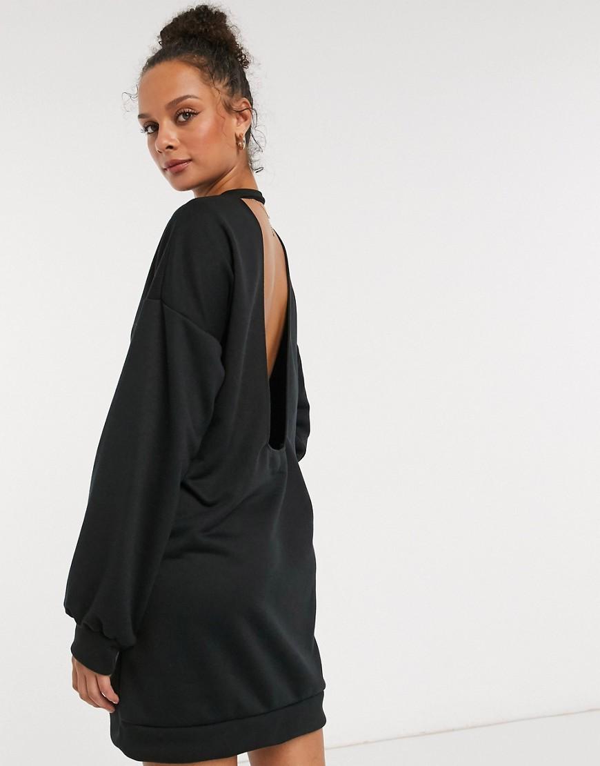 Черное платье-свитшот мини с открытой спиной ASOS DESIGN-Черный