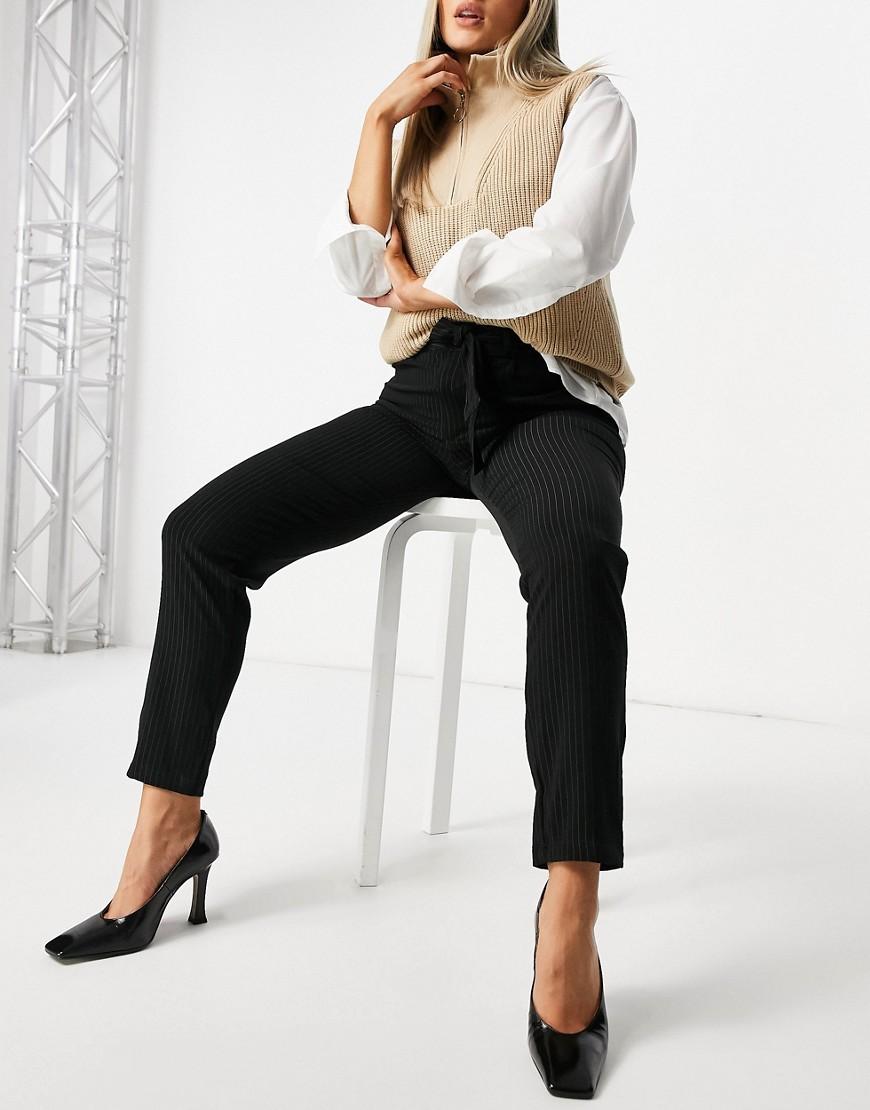 Черные брюки с завязкой на поясе JDY Oma-Черный