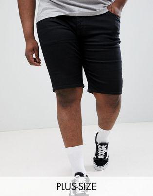 Черные джинсовые шорты зауженного кроя River Island Big & Tall