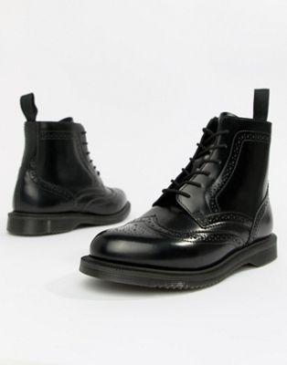 Изображение 1 из Черные кожаные ботильоны на плоской подошве со шнуровкой Dr.Martens Delphine