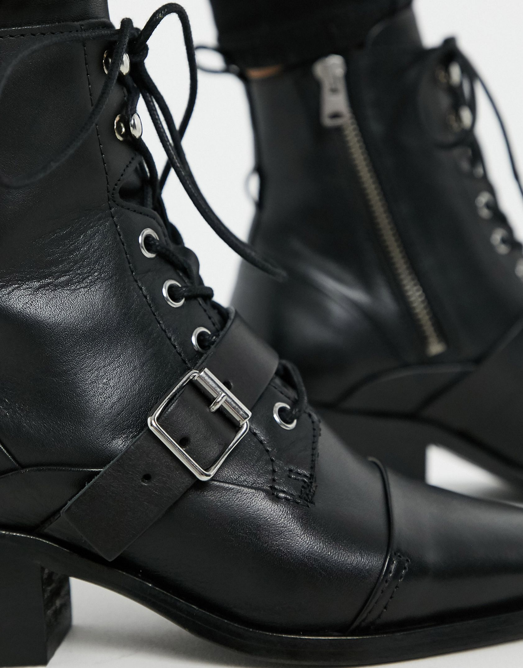 AllSaints Katy lace up heeled leather boots with buckle in black -  Price Checker