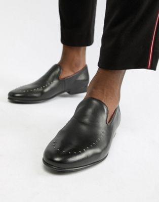 Черные кожаные лоферы с заклепками WALK London Study