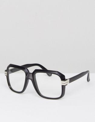 Черные матовые очки с прозрачными стеклами ASOS Navigator