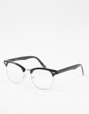 Черные очки в стиле ретро с прозрачными стеклами ASOS DESIGN