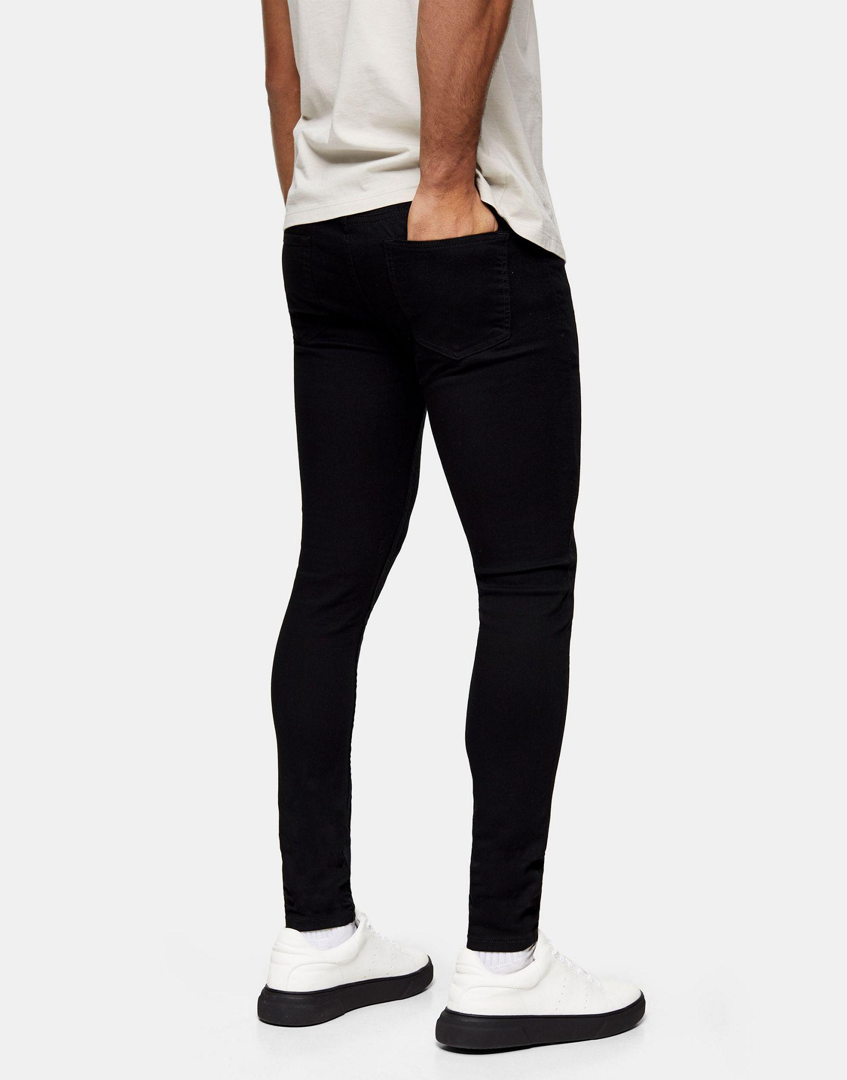 Topman organic cotton blend spray on jeans in black -  Price Checker