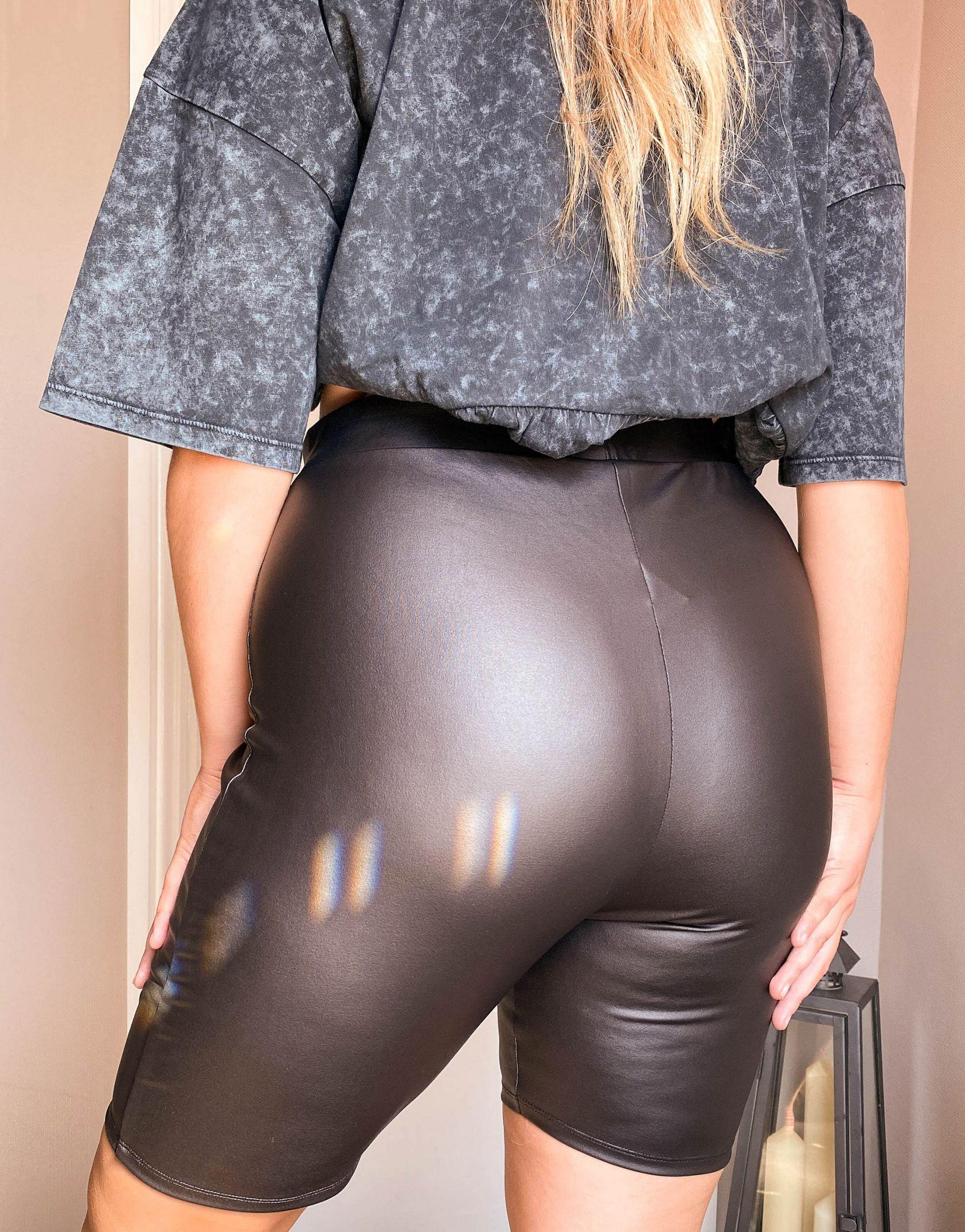 ASOS DESIGN Curve leather look legging short in black - ASOS Price Checker