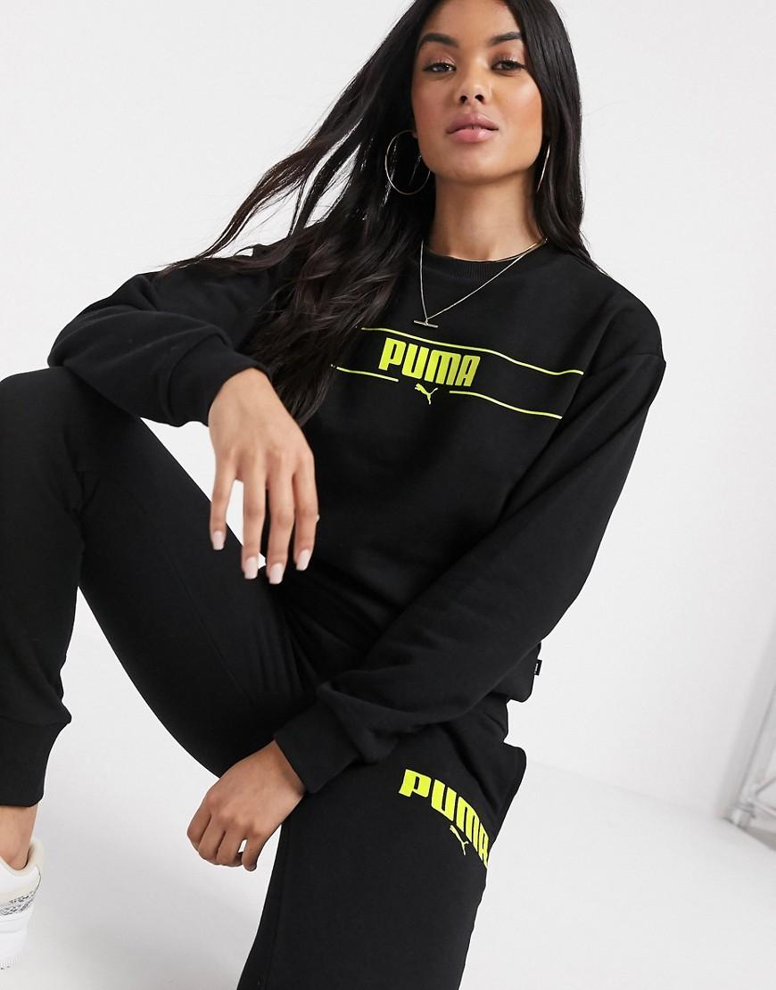 Черный свитшот с круглым вырезом Puma