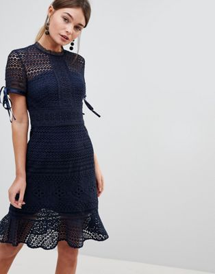 Chi Chi London All Over Lace Midi Dress with High Neck and Short Sleeve