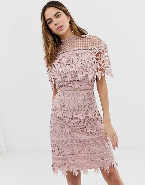4fbb853551d96 Chi Chi London high neck lace pencil midi dress in blush pink