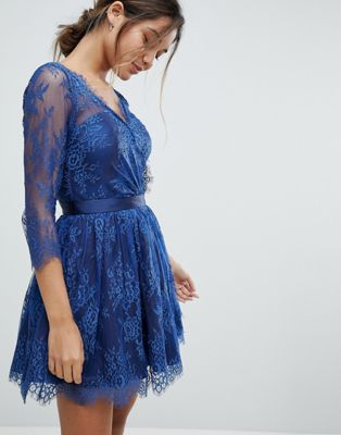 Chi Chi London Lace Overlay Mini Dress