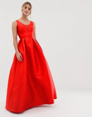 Image 1 of Chi Chi London maxi prom dress with open back in red