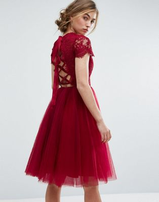 Chi Chi London Midi Tulle Dress with Lace Up Back