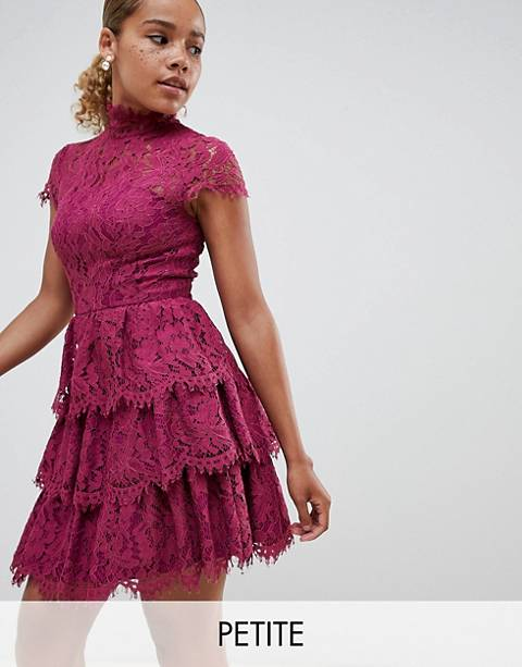 Chi Chi London Petite tiered lace high neck skater dress
