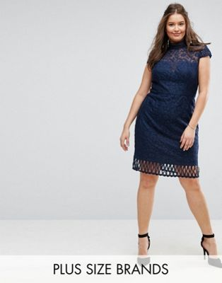 Chi Chi London Plus Cap Sleeve Lace Pencil Dress in Cutwork Lace and High Neck