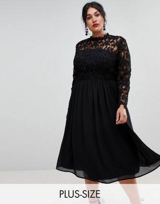 Image 1 of Chi Chi London Plus high neck midi skater dress with lace sleeves in black