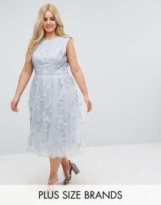 Chi Chi London Plus Lace Midi Dress with 3D Flowers