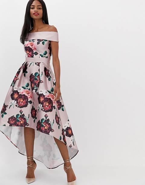 Chi Chi London - Robe mi-longue bandeau à fleurs - Rose sombre
